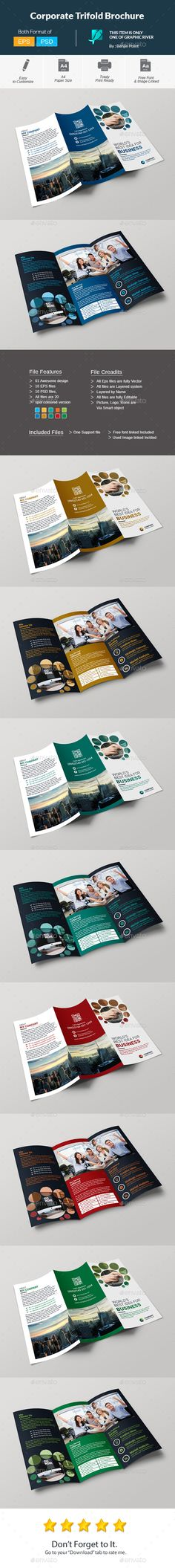 Corporate Trifold Brochure - Corporate Brochures Download here : https://graphicriver.net/item/corporate-trifold-brochure/19673728?s_rank=55&ref=Al-fatih