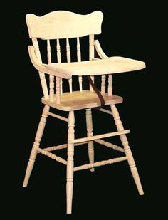 Classic wooden highchairs. Unfinished so you can stain or paint it ANY color you want. $95