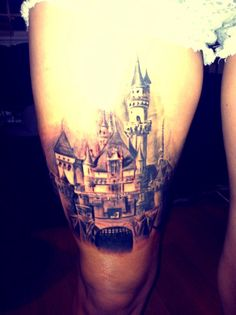 Well crafted castles tattoos can be one of the most comprehensive designs of a tattoo when done by a professional. The color reveals the mysteries behind the castles. Tattoo Blog, I Tattoo, Cool Tats, Awesome Tattoos, Piercing Tattoo, Piercings, Disney Castle Tattoo, Beautiful Tattoos, Beautiful Body