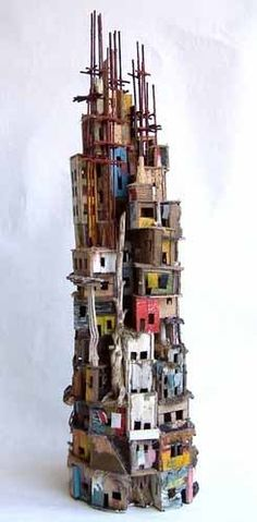 Little Babel van Eric Cremers Tower Of Babel, Ceramic Houses, Art Sculpture, Driftwood Art, Driftwood Mobile, Assemblage Art, Land Art, Little Houses, Oeuvre D'art