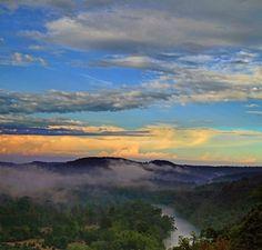 Misty sunset - White River at Eureka Springs - photo by Michael Buffington for Capture Arkansas