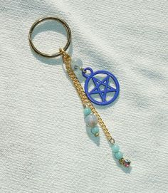 Aquamarine Gemstone & Blue Pentagram Key Ring - Key Chain