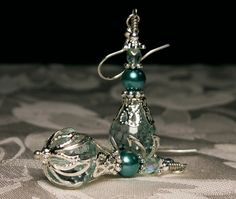 Peacock Blue Green Crystal Pearl Silver Jeannie Bottle Earrings Steampunk Jewelry Antique Vintage Victorian Style