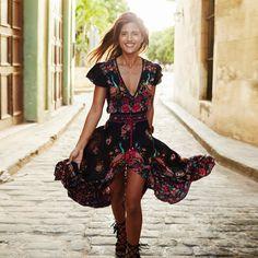 Vintage Chiffon Boho Print Maxi Dress