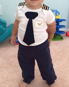 Airline Pilot One Piece Bodysuit Pilot Baby Outfit Baby Planes Party, Airplane Party, Planes Birthday, Boy First Birthday, 1st Birthday Parties, Pilot Uniform, Airline Pilot, One Piece Bodysuit, Kids Outfits