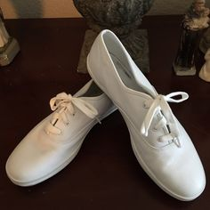 Keds White Leather Sneakers Keds White Leather Sneakers. Great shape! Like new!  These are easy to clean and care for leather.  Classic white!  #athletic, #retro, #vintage, #fashion sneakers keds Shoes Sneakers