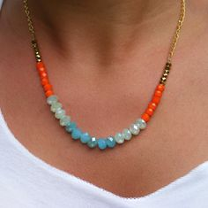Blue Orange Gold Glass Czech Bead Necklace Gold Filled Chain or Silver, you choice..............