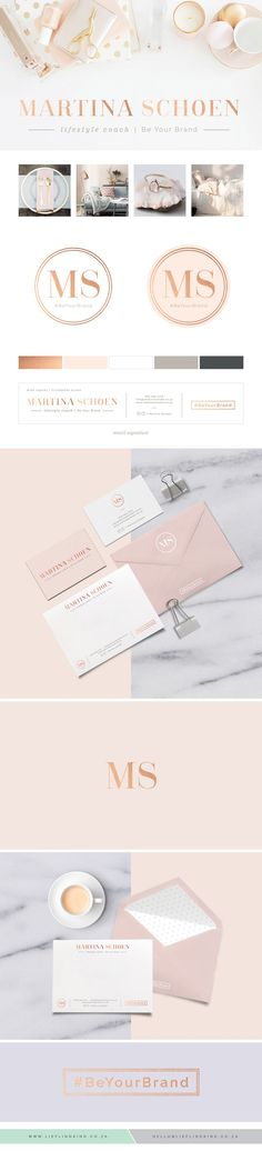 Sophisticated, elegant, feminine branding for Martina Schoen. Lifestyle Coach.  Logo. Brand. Corporate Identity. Blush Pink. Rose Gold. Business Card. Girly. Rosegold.