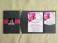 5 x 7 Pink Orchid Pocket Fold Invitation