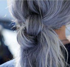 Grayish blue purple hair