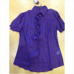 Ermanno Scervino exquisite purple linen ruffly blouse 44 8