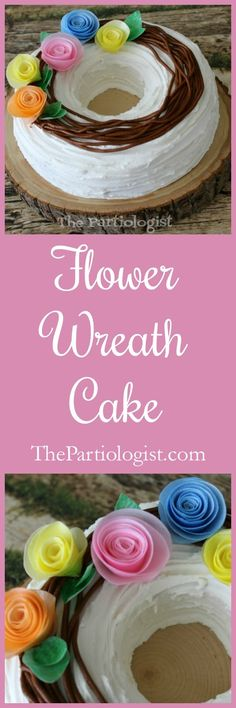 Wafer Paper Flower Wreath Cake Tutorial ~ The Partiologist Flower Girl Wreaths, Paper Flower Wreaths, Flower Crafts, Paper Flowers, Wilton Cake Decorating, Cookie Decorating, Decorating Ideas, Wilton Cakes, Cupcake Cakes