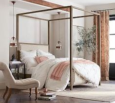 Our Toulouse Collection was inspired by the classic style of vintage furniture from a Paris apartment, with molded trim along the rails and frame and a chic washed finish. Nailheads detail the upholstered panels of the canopy bed. Upholstered Panels, Furniture, Poster Bed, Canopy Bed, Bedroom Furniture, Bed, Bed Frame, Bedroom, Farmhouse Canopy Beds