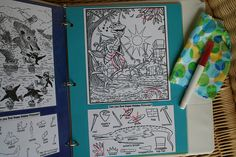 Hidden pictures activity books with write and wipe off marker - great for long car rides or times when you need them to be quiet - scout meetings, etc.