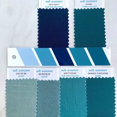 Summer Color Palettes, Soft Summer Color Palette, Summer Colors, Winter Colors, Seasonal Color Analysis, Color Plan, Soft Autumn, Project, Fabric Swatches
