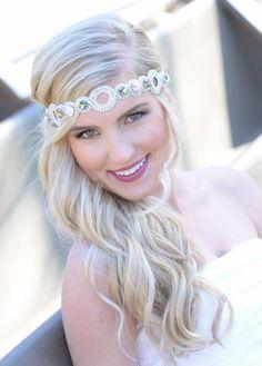 Pink Pewter Jeweled Stretch Headband TORI White AB -Wedding Prom Hair Accessory
