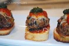 Meatballs are so versatile that you can create your own spin on this traditional crostini. Chef's signature savory meatball with marinara and pesto. Palm Springs Events, Delicious Catering, Reception Food, Wedding Catering, Meatball, Spring Wedding, Gourmet Recipes, Pesto, Great Recipes
