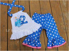 Custom Boutique Disney  Blue White  Dots Cinderella Personalized Capri And Halter Top Birthday Girl