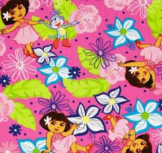 Dora A Day at the Beach Hawaiian Dora Cotton Quilting Fabric 1/2 YARD