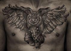 45 Attractive Big Tattoo Ideas For Men – Good Pins! Owl Tattoo Chest, Owl Eye Tattoo, Mens Owl Tattoo, Owl Tattoo Small, Raven Tattoo, M Tattoos, Eagle Tattoos, Animal Tattoos, Sleeve Tattoos