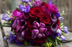 Deep rich color bridal bouquet