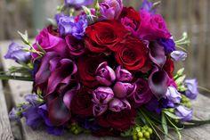 Deep rich color bridal bouquet
