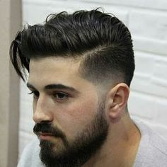 Fringe Haircut with Part - Low Fade Haircut . Mens Hairstyles With Beard, Cool Hairstyles For Men, Hair And Beard Styles, Hairstyles Haircuts, Haircuts For Men, Medium Hair Styles, Short Hair Styles, Low Fade Haircut, Beard Haircut