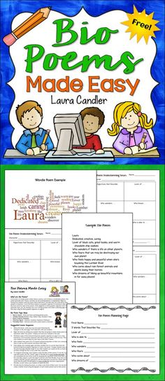 FREE Bio Poems Made Easy from Laura Candler includes printables, graphic organizers, and directions. This freebie can be used in almost any subject area and it's FUN for kids!