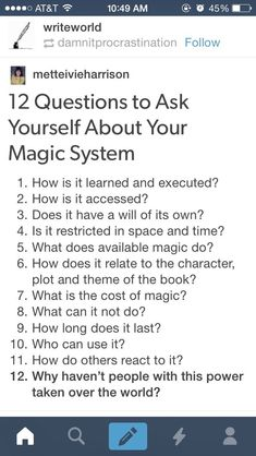 Novel Writing Tips - Questions to ask about your magic system Creative Writing Tips, Book Writing Tips, Writing Words, Writing Resources, Writing Help, Writing Ideas, Fiction Writing, Picture Writing Prompts, Writing Fantasy
