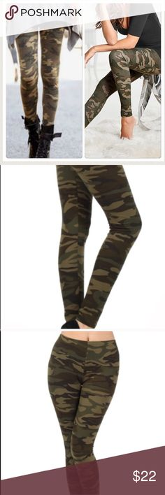 Best Camouflage Leggings Soft poly spandex blend stretch great quality camouflage leggings . One sizes fits all Nwot fits small through XL . Adding sizes for search purposes Vivacouture Pants Leggings