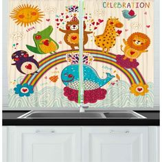 East Urban Home Ambesonne Birthday Party Kitchen Curtains, Hand Drawn Style Tropical Wild Animals And Whale On A Rainbow Coloured Image, Window Drapes Window Drapes, Drapes Curtains, Living Room Bedroom, Bedroom Kids, Decorative Items, Decorative Curtains, Custom Drapes, Modern Curtains, Kitchen Decor