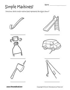 Six Simple Machines - 3 Printable Worksheets by Tims Printables Science Worksheets, Worksheets For Kids, Science Lessons, Printable Worksheets, Printables, Science Resources, Simple Machine Projects, Hidden Object Puzzles, Living And Nonliving