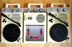Columbia GMX-3 Portable Mixer and two GP-3 Portable Turntables, made and sold in Japan, circa 2000