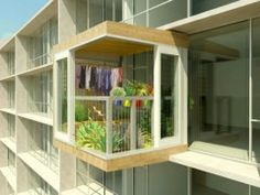 Plant Room is a prefabricated 'clip-on' garden shed/greenhouse designed for high-rise apartment buildings and condos.