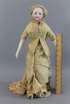 19thC Antique FRANCOIS GAULTIER No. 4 French Fashion Doll Socket Bisque Head #FrancoisGaultier