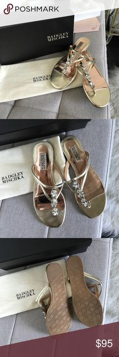 Badgley Mischka Kittie Flat Sandal These gorgeous Badgley Mischka Kittie flat sandals were worn only once to a Summer wedding. Size 7. Gold base with silver/clear gems. Please see photos for signs of wear. No stones are missing. Will ship with box, dust bag & extra stones as seen in photos. Gorgeous for Summer! Badgley Mischka Shoes Sandals
