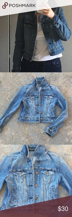 American Eagle Jean Jacket 100% cotton jean jacket. Intentional distressed fraying on edges and various parts of jackets. Great condition! American Eagle Outfitters Jackets & Coats Jean Jackets