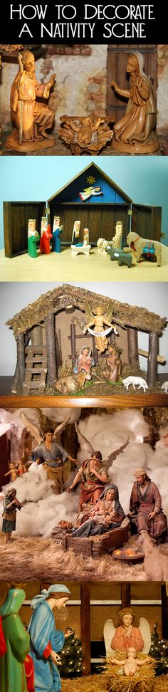 A nativity scene is a great addition to the Christmas decorations in your home to remind your family of the reason for Christmas.  Whatever size or style nativity scene you have, here are a few ideas for how to decorate your nativity scene.