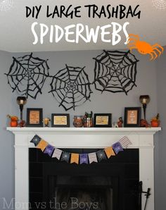 Make your own trashbag spiderwebs to decorate for halloween Halloween Items, Halloween Crafts For Kids, Halloween Projects, Diy Halloween Decorations, Holidays Halloween, Diy Crafts For Kids, Halloween Tricks, Preschool Halloween, Craft Ideas