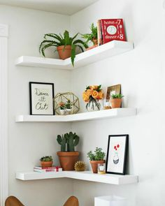 6 Ways to Style that Awkward Corner - LOVE this shelving idea for corners!