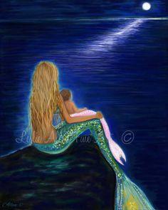 Mermaid Art Mermaid Painting Mermaids Art by LeslieAllenFineArt