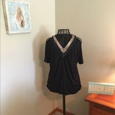 Black V-neck top Black V-neck top. Sequins around the neck. Open shoulders. Oversize. Smoke-free pet free home. Fashion Bug Tops Blouses