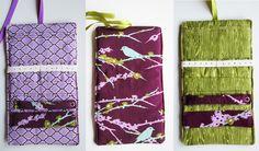 Porta gioielli da viaggio in tessuto - fantasia uccello viola arabesco viola - legno, by Lily Bay Boutique, 24,00 € su misshobby.com