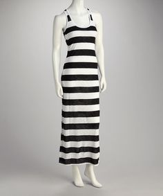 Take a look at this Black & White Stripe Maxi Dress by La Class on #zulily today!