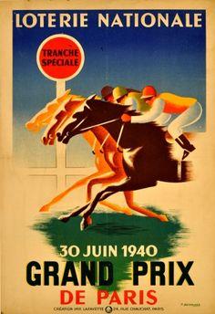 Grand Prix de Paris - Horse Racing 1940 - original vintage poster by P Besniard listed on AntikBar.co.uk