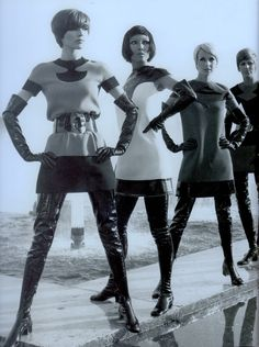 PIERRE CARDIN 60's Futuristic Ready-to-wear 1968. Mini's & tunics with thigh-high boots. From Pierre Cardin 50 Years of Fashion & Design. (minkshmink)