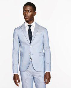 4fbb467f TRAJE COTTON CERAMICA CELESTE-ÚLTIMA SEMANA | ZARA España Blazer Suit, Suit  Jacket,