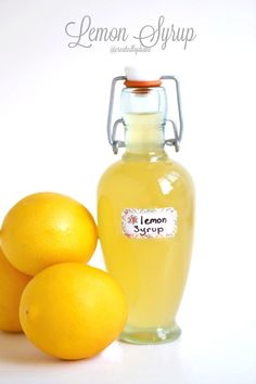 Homemade lemon syrup is quick and easy to make and can be used in more than a dozen delicious ways. Great for gift giving from home grown Meyer Lemons (Lemon Pancake Easy) Lemon Curd Dessert, Lemon Desserts, Kefir, Kombucha, Food Storage, Meyer Lemon Recipes, Recipes For Lemons, Meyer Lemon Lemonade Recipe, Lemon Cordial Recipe