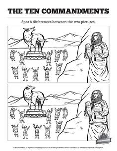 Ten Commandments Kids Spot The Difference: Can your kids find all the changes we've made on this ten commandments kids spot the difference activity page? This fun and challenging activity is visually stunning and built support your Exodus 20 Moses and the ten commandments Sunday school lesson.