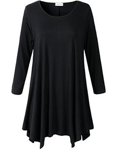 6baa442f852ba LARACE Lanmo Women Plus Size 34 Sleeve Tunic Tops Loose Basic Shirt Black    You can find out more details at the link of the image.